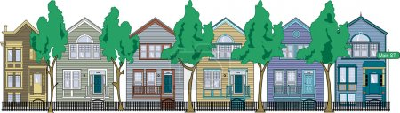Illustration for Row Of Perfect Victorian Houses With Iron Fencing And Trees - Royalty Free Image