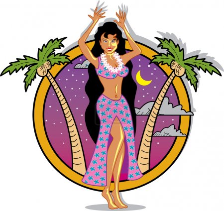 Illustration for Hula Girl - Royalty Free Image