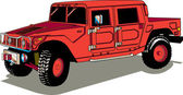 Big Red Hummer H2 Vehicle With A Truck Bed