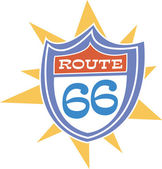 Colorful Route 66 Highway Sign