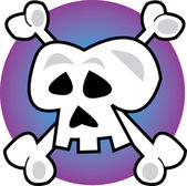 Human Skull And Crossbones Jolly Roger Over Purple