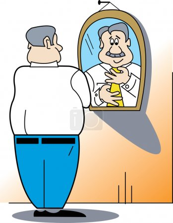 Businessman Putting A Tie On While Standing In Front Of A Mirror