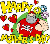 Velké mužské zápasník drží květiny s šťastné matky den