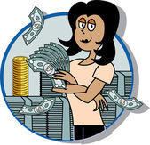 Successful Businesswoman Standing By Stacks Of Money