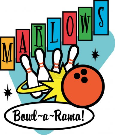 Illustration for Red Bowling Ball Crashing Into Bowling Pins On A Vintage Marlows Bowl O Rama Sign - Royalty Free Image