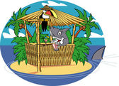 Shark Serving Cocktails At A Tiki Bar On A Tropical Island