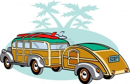 Woody Sedan With Surfboards On The Roof