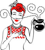 Red haired housewife holding a coffee pot