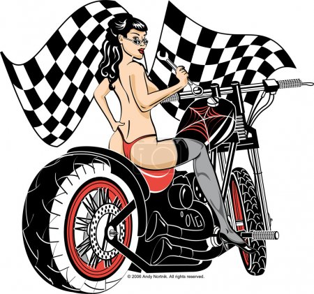 Illustration for Sexy topless brunette woman in a red thong, stockings and heels, looking back over her shoulder and holding a wrench while sitting on a motorcycle - Royalty Free Image