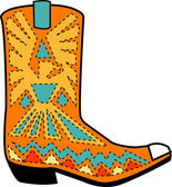 Orange aztec style cowboy boot with blue and yellow accents around a bird