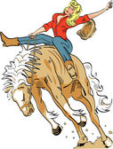 Sexy blond cowgirl in a red shirt riding a bucking bronco in a rodeo
