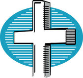 White crucifix over a blue and white circle background