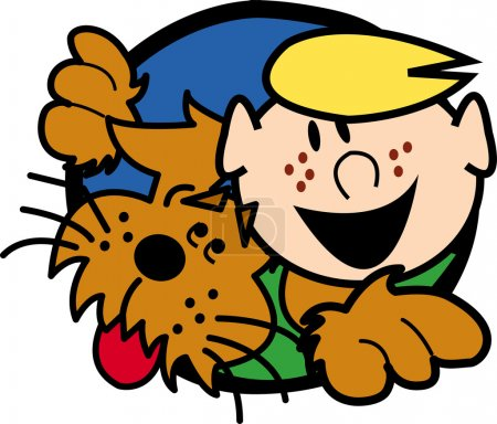 Happy freckled blond boy in a hole with his dog