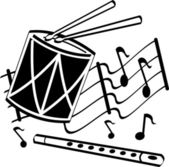 Black and white retro styled music clipart picture of drumsticks on a drum and flute over musical notes