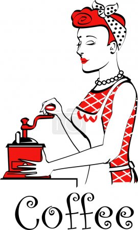 Beautiful red haired housewife or maid woman using a manual coffee grinder, with text