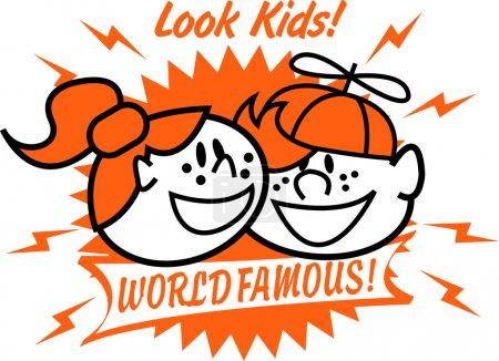 Photo pour Deux heureux rousseurs rousseurs chevelus enfants, un garçon et une fille, souriant avec lecture de texte Look Kids ! Célèbre mondiale ! - image libre de droit