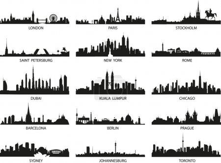 Illustration for Vector silhouettes of the city skylines - Royalty Free Image