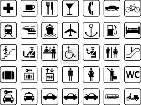 Illustration pour Icônes de transport et guide - image libre de droit