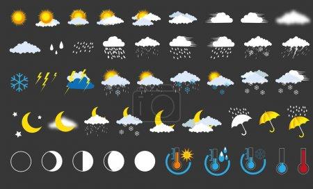 Illustration pour Icônes météo - image libre de droit