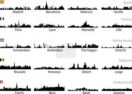 Photo pour Les villes européennes définissent le vecteur - image libre de droit