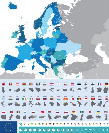 Illustration for Vector high detailed map of Europe with flags - Royalty Free Image