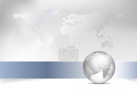 Illustration for Global business template - world map background with 3d globe - Royalty Free Image