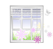 Spring element - window with flowers