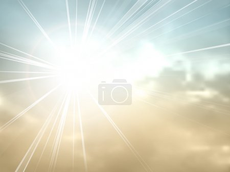 Illustration for Abstract retro clouds with sunshine - Royalty Free Image