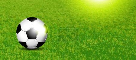 Soccer banner - football on grass texture