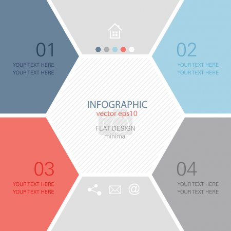 Illustration for Info graphic design - minimal hexagon brochure template - Royalty Free Image