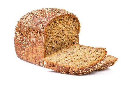 whole grain bread isolated on white