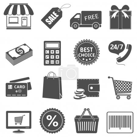 Illustration for Shopping icons set. Vector EPS10 - Royalty Free Image