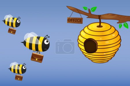 Illustration for Bee with briefcase flies to work. Vector illustration. - Royalty Free Image