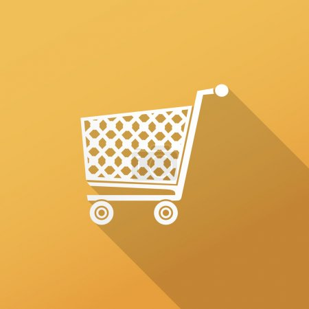 Illustration for Shopping cart flat icon for web and mobile application. Long shadow design. - Royalty Free Image