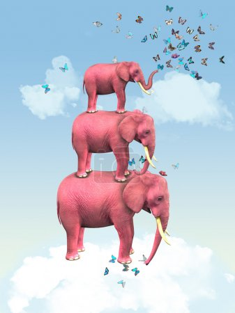 Three pink elephants in the clouds with butterflies