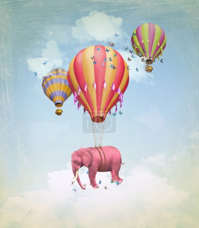 Pink elephant in the sky with balloons. Illustrati...