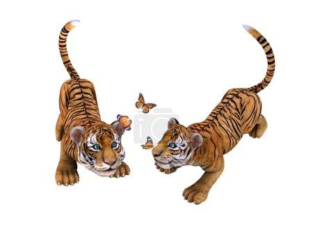 Photo pour Deux oursons mignons tigre jouant avec des papillons. illustration - image libre de droit