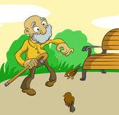 Old man feed birds