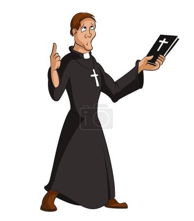 Illustration pour Image vectorielle de drôle de prêtre intelligent dessin animé - image libre de droit