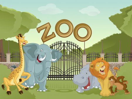 Illustration for Vector image of cartoon zoo with animals - Royalty Free Image