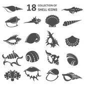 Vector image of collection of shell icons