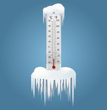 Illustration pour Image vectorielle d'un thermomètre congelé en hiver - image libre de droit