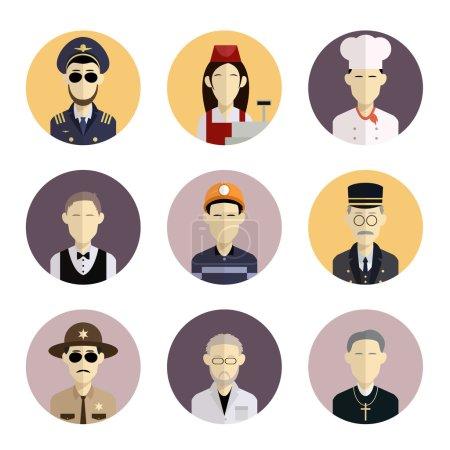 Photo pour Image vectorielle de la collection d'icônes plates avec des professions - image libre de droit