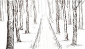 Forest sketch hand drawing in vector