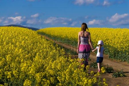 Photo pour Jeune mère et sa fille s'amusent au champ de colza - image libre de droit