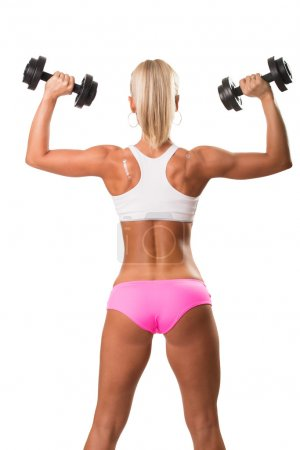 Beautiful athletic woman from back
