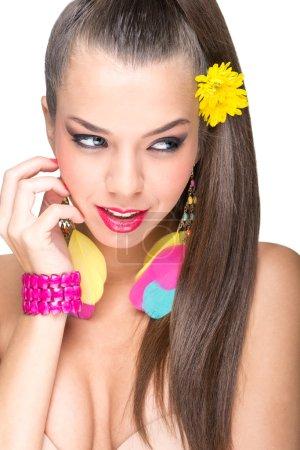 Beautiful flawless-skinned woman with lipstick