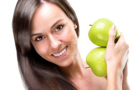 Healthful eating-Beautiful woman holding apples, close-up photo