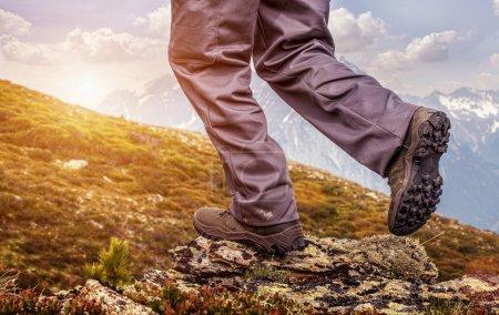 Hiker standing on top