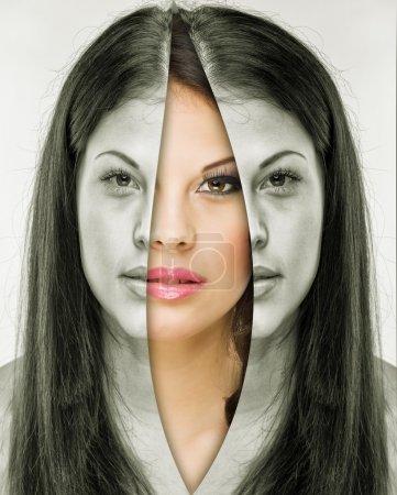 femme avant et après maquillage